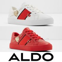 ALDO Heart Round Toe Rubber Sole Lace-up Casual Style Studded
