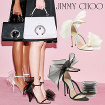 Jimmy Choo Open Toe Blended Fabrics Plain Leather Pin Heels Party Style