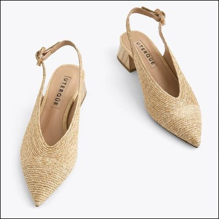 V Cut Slingback Shoes with Wooden Heels