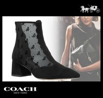 Coach Flower Patterns Suede Block Heels Ankle & Booties Boots