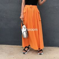Casual Style Linen Blended Fabrics Pleated Skirts Plain Long