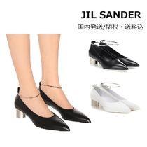 Jil Sander Plain Leather Kitten Heel Pumps & Mules