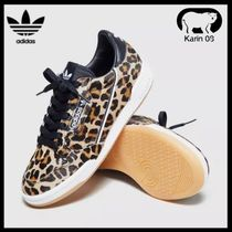 adidas Heart Leopard Patterns Round Toe Rubber Sole Casual Style