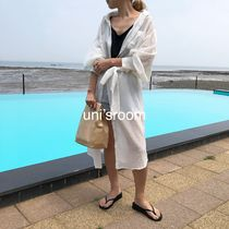 Plain Cotton Long Gowns Oversized Elegant Style Puff Sleeves