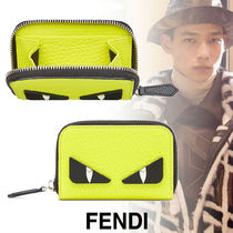FENDI BAG BUGS Street Style Plain Leather Coin Cases