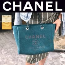 CHANEL DEAUVILLE Casual Style Canvas Blended Fabrics A4 2WAY Chain Plain