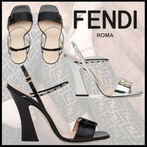 FENDI Open Toe Plain Leather Block Heels Elegant Style Sandals