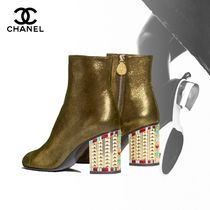 CHANEL Plain Toe Street Style Plain Leather With Jewels