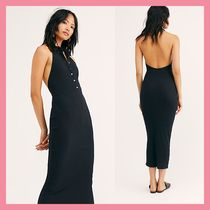Free People Casual Style Tight Sleeveless Plain Cotton Long Dresses