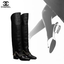 CHANEL Casual Style Street Style Chain Plain Leather Chunky Heels