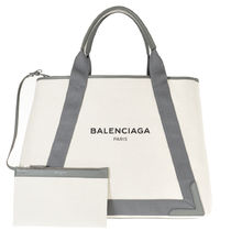 BALENCIAGA CABAS Casual Style Canvas A4 Plain Handbags