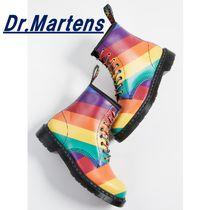 Dr Martens 1460 Stripes Unisex Blended Fabrics Street Style Mid Heel Boots