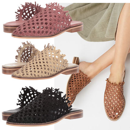 Plain Toe Casual Style Plain Leather Slippers Sandals