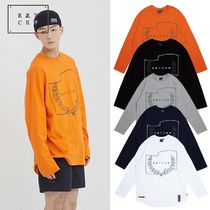 ROMANTIC CROWN Crew Neck Pullovers Unisex Long Sleeves Cotton Oversized