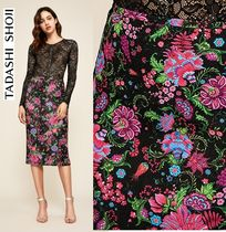 TADASHI SHOJI Pencil Skirts Flower Patterns Medium Midi Skirts