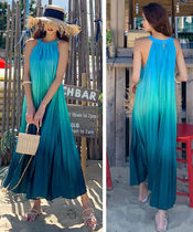 Tropical Patterns Casual Style Maxi Sleeveless Long Dresses