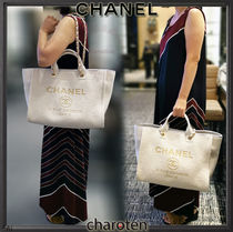 CHANEL DEAUVILLE Casual Style Unisex Canvas A4 3WAY Chain Plain Totes