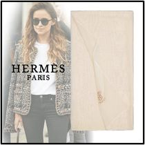 HERMES 2019-20AW STOLE PLUME UNIE white scarves & shawls