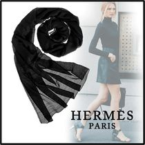 HERMES 2019-20AW STOLE PLUME UNIE black scarves & shawls