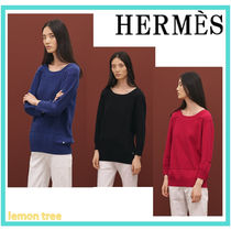HERMES Cashmere Long Sleeves Plain Long Cashmere