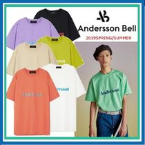 ANDERSSON BELL Crew Neck Unisex Street Style Plain Cotton Short Sleeves