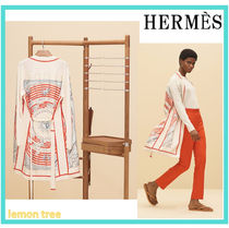 HERMES Cashmere Blended Fabrics Long Sleeves Long Cashmere