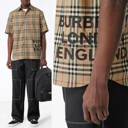 Burberry Shirts Button-down Other Check Patterns Cotton Short Sleeves
