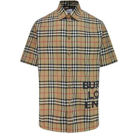 Burberry Shirts Button-down Other Check Patterns Cotton Short Sleeves 2