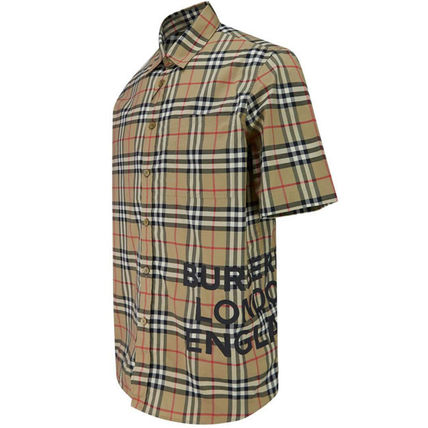 Burberry Shirts Button-down Other Check Patterns Cotton Short Sleeves 3