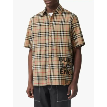 Burberry Shirts Button-down Other Check Patterns Cotton Short Sleeves 6