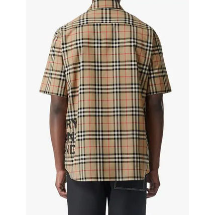 Burberry Shirts Button-down Other Check Patterns Cotton Short Sleeves 7