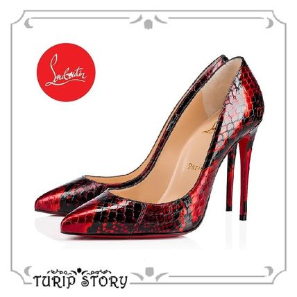 check out 2ab08 87dca Christian Louboutin Pigalle Follies 2019 SS Leather Pin Heels Python  Pointed Toe Pumps & Mules (3190026R251 )