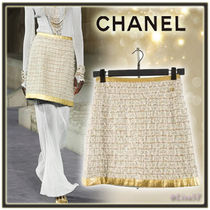 CHANEL Short Tweed Plain Elegant Style Skirts