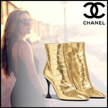 CHANEL Pin Heels Party Style Ankle & Booties Boots