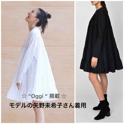 Short Casual Style A-line Plain Cotton Dresses