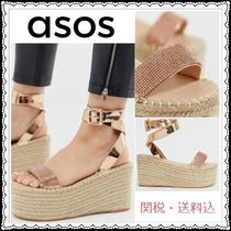 ASOS Open Toe Casual Style Blended Fabrics Plain With Jewels