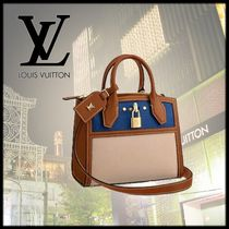 Louis Vuitton CITY STEAMER Blended Fabrics 2WAY Leather Handbags
