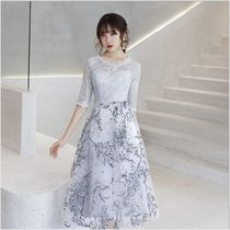 Crew Neck A-line Medium Lace Dresses