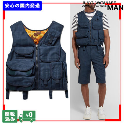Other Plaid Patterns Unisex Street Style Fly-Fishing Vest