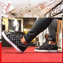 Christian Louboutin LOUIS Blended Fabrics Studded Street Style Leather Sneakers