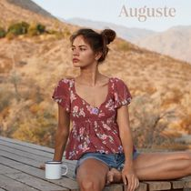 Auguste Flower Patterns Short Sleeves Shirts & Blouses