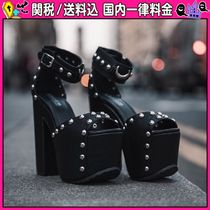 DOLLS KILL Open Toe Platform Casual Style Faux Fur Studded Plain