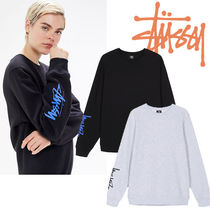 STUSSY Crew Neck Sweat Rib Street Style Long Sleeves Plain Medium