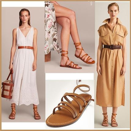 Open Toe Lace-up Casual Style Plain Leather Sandals