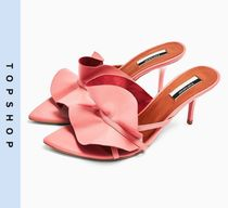 TOPSHOP Casual Style Leather Heeled Sandals