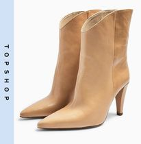 TOPSHOP Casual Style Leather High Heel Boots