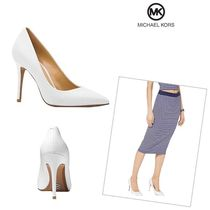 Michael Kors Plain Leather Pin Heels Pointed Toe Pumps & Mules