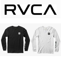 RVCA Crew Neck Unisex Street Style Long Sleeves Plain Cotton