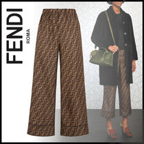 FENDI Printed Pants Monogram Silk Long Elegant Style Pants