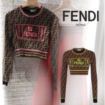 FENDI Crew Neck Casual Style Blended Fabrics Bi-color Long Sleeves